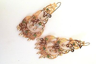 Antique 18th or early 19th century 18k solid gold filigree earrings