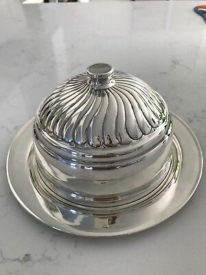 Antique Sterling Silver-925-Authentic-Butter Plate-Cheese Plate with Lid-Vintage