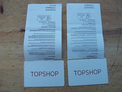 Topshop gift credit vouchers cards 2 with total value £82.00 clothes