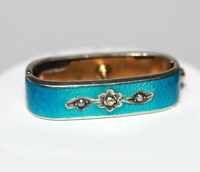 Antique Silver & Blue Enamel Scarf CLIP RING Pin Clear Stone and Seed Pearl