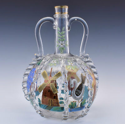19th Century Enameled Flemish Style Glass Wine Decanter Dutch French or German?