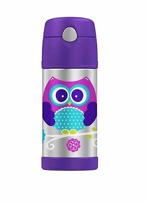 Genuine Thermos Funtainer 12 Ounce Bottle Purple Owl Design for Kids Cold Drinks