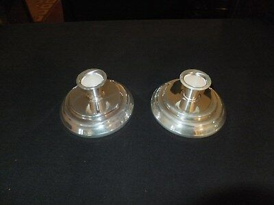 "2 Towle silver-plated candle holders, 2""h x 4-1/2"" base [756]"