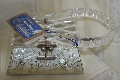 Charles Kahn Florida Handbags of Miami Pearlized With Gold Glitter Lucite Purse