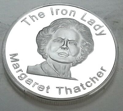 Margaret Thatcher Silver Coin Prime Minister Map Union Jack Great Britain Tory