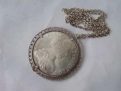 """Solid Silver """"1780 Thaler"""" Coin Pendant/ Dia 5 cm on Silver Chain/ 41 g"""
