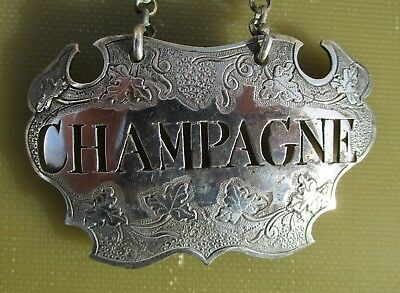 Antique Georgian Sterling silver CHAMPAGNE label, c1750, Sandilands Drinkwater