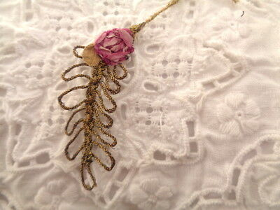 Small 1920's French Metallic Leaf With French Silk Ombre Rose Embellishment