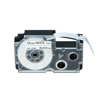 1PK Compatible Casio XR-12WE Black on White Label Tape for EZ KL-60 12mm 1/2""
