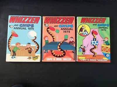 WHIZZER & CHIPS ANNUALS 1973/4/5 - All Complete Good Condition