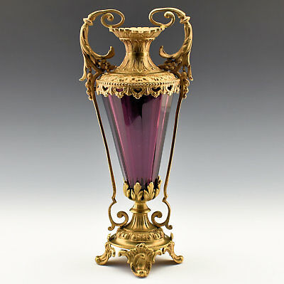 Fine  Antique French  Amethyst Cut Crystal Vase in Bronze Mount