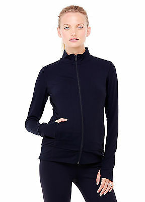 NWT Ingrid & Isabel Active Side Zip Maternity Jacket - Size Large Black (12-14)