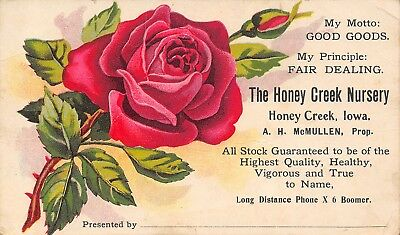 Honey Creek IA McMullen Nursery~Rose, Buf & Thorns Trade Card: Good Goods~1890s