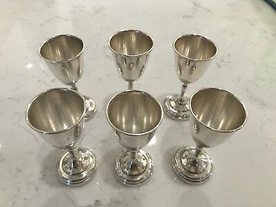 Antique Sterling Silver-Mini Goblets-925-Authentic-Set of 6-Vintage-Cups-SILVER