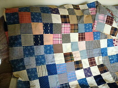 """Vintage fabrics in browns and blues in unfinished quilt top 50"""" x 95"""""""