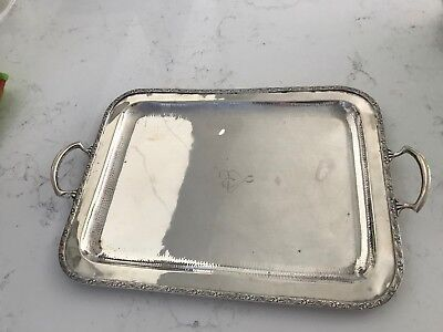 Antique Sterling Silver Square Serving Tray-Platter-925-Authentic-Vintage-Handle