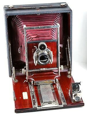 PONY PREMO No. 6 CAMERA with RED BELLOWS & POLISHED WOOD - LEATHER COVERED