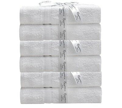 6 Pack 550GSM Egyptian Cotton Bath Towels Hotel Grade Classic Collection White