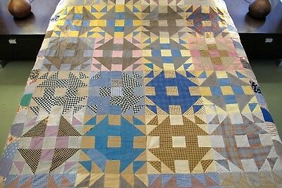 FOR RESTORATION Vintage Hand Set VERY OLD Cotton Fabrics MONKEY WRENCH Quilt TOP