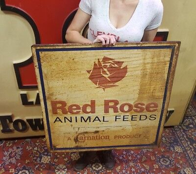 Original 50s Red Rose Animal Feed Farm Carnation Prod. Embossed Metal Adv. Sign