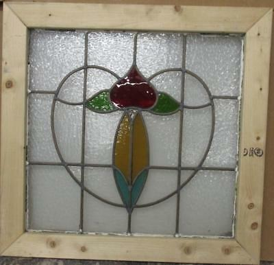 "MID SIZE OLD ENGLISH LEADED STAINED GLASS WINDOW Floral Heart 26.5"" x 25.5"""
