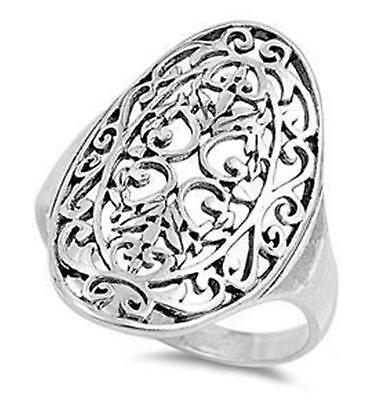 FILIGREE COCKTAIL RING ~ Genuine 925 STERLING SILVER RING ~ Size 11 12 / W Y