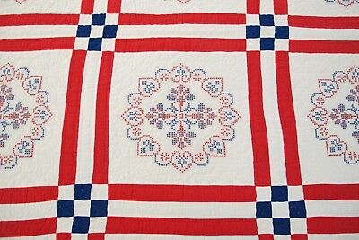 Vntage Red White Blue American Flag, Stars & Hearts Hand Sewn Cross Stitch QUILT