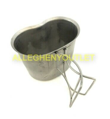 Genuine Us Military Stainless Butterfly Wire Handle Canteen Cup Vgc