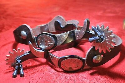 L@@K!! Western Silver Engraved Cowboy Spurs with Leather Straps/buckles