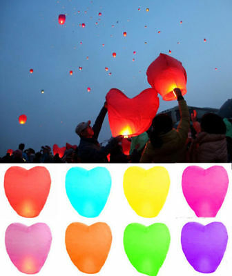 Fire Light Wishing Lamp Heart Shape KongMing Sky Flying Lanterns Wedding Party