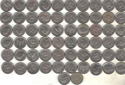 United Kingdom Lot Of 62 Five Pence Coins 1992+