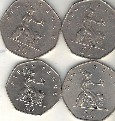 United Kingdom Lot Of 4 Fifty Pence Coins