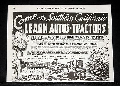 1920 Old Magazine Print Ad, National Automotive School, In Southern California!