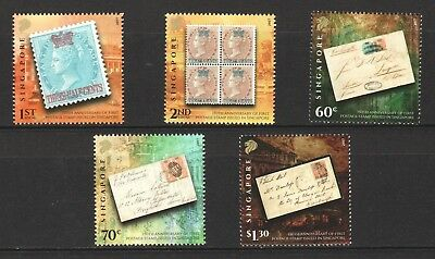 Singapore 2017 150Th Anniv. Of 1St Postage Stamp Issued In S'pore Set Of 5 Stamp