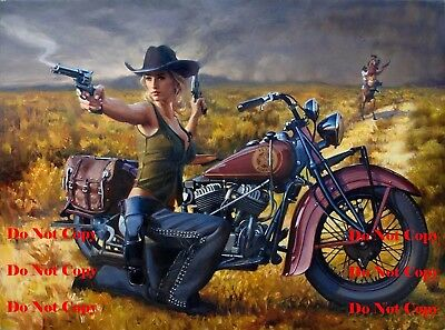 Motorcycle Retro Vintage Man Cave Sign Pinup Girl 8X10 Glossy Photo Pic Picture