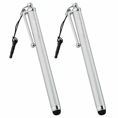 2x Silver 3.5mm Plug Touch Screen Stylus Pen For Samsung Galaxy S8/S8+/S9/S9+