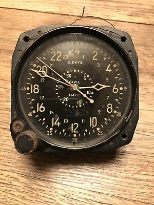 WALTHAM WATCH CO. Vintage Military Aircraft Aviation Clock US Navy CDIA 8 Days