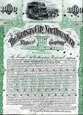 A Very Nice1894 The Kansas City Northwestern Roalroad Co $1000 Bond w/34 Coup