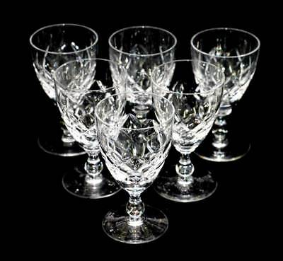 Vintage set of 6 diamond cut crystal port or sherry glasses