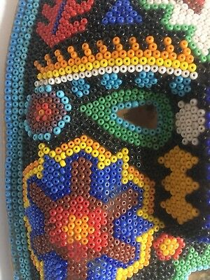 1980s HUICHOL BEADED Mask Face Mexican FOLK ART Authentic Vintage