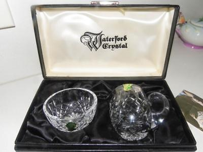 Waterford Crystal Glass Vintage Boxed Sugar Basin & Jug - New Condition