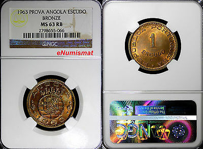 Angola Bronze 1963 1 Escudo PROVA ESSAY NGC MS63 RB TOP GRADED KM# Pr61