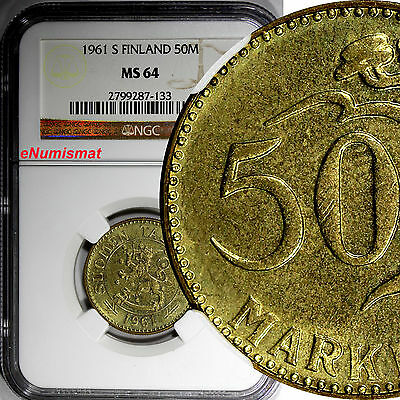 Finland 1961 S 50 Markkaa NGC MS64 Better Date TOP GRADED COIN BY NGC KM# 40