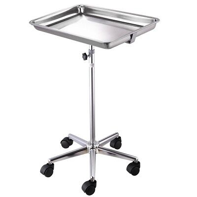 Mobile Mayo Tray Stand Trolley Adjustable Height Medical Doctor Salon Equipment