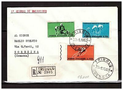 s20867) ITALIA 1962 FDC Registered Cover World Cycling Championship