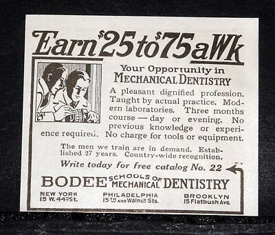 1920 Old Magazine Print Ad, Bodee Schools Of Mechanical Dentistry, $25-$75 A Wk!