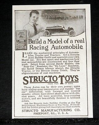 1919 Old Magazine Print Ad, Structo Toys, Build A Model Of A Racing Automobile!