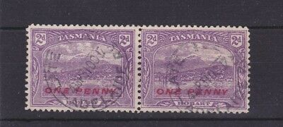 Late Fee Adelaide Railway cancelled ONE PENNY on 2d Tasmania Pictorial stamps