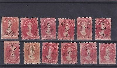 12 Tasmania penny Chalon stamps with pen (fiscal) cancels.
