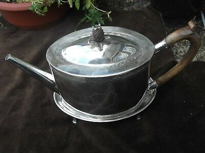 1794 George 111 teapot and stand by maker TG , great finial